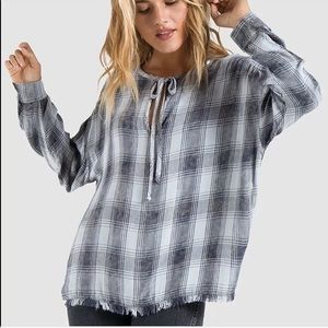 Anthro Cloth & Stone Plaid Drop Shoulder Tunic S